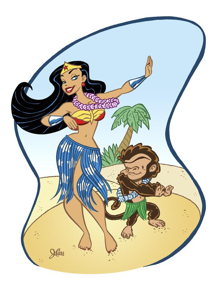 Wonder Woman Dances Hula
