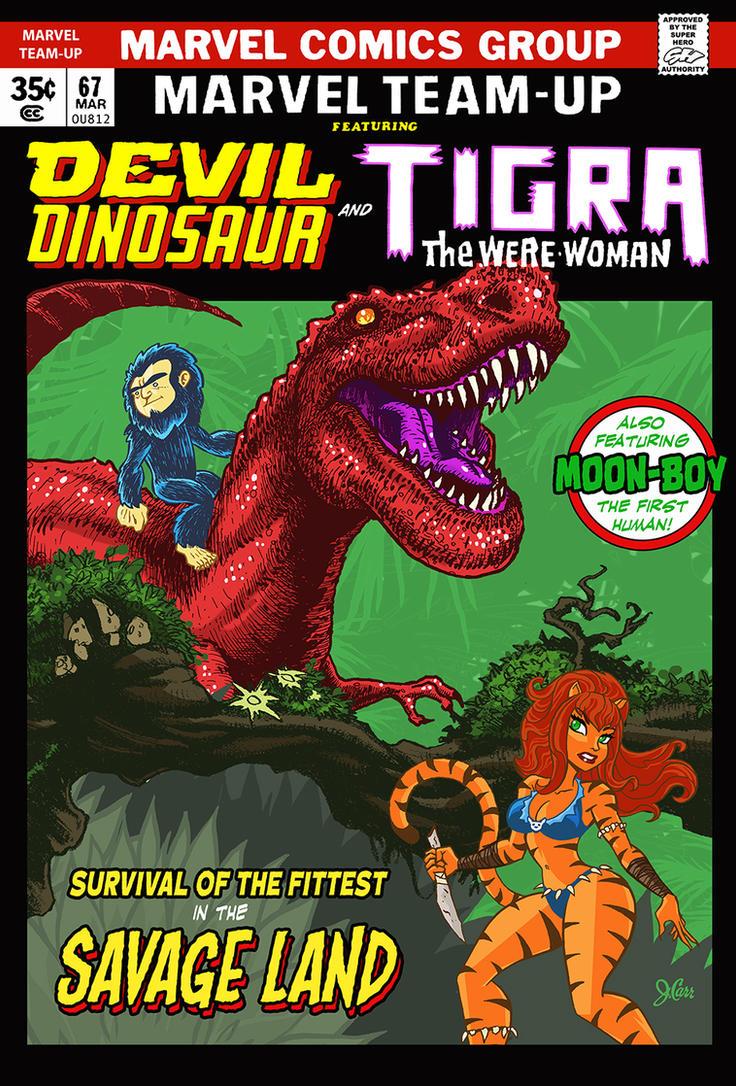 Devil Dinosaur meets Tigra! by jerrycarr