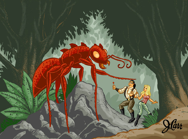 Tork and Tara vs the Giant Ant by jerrycarr