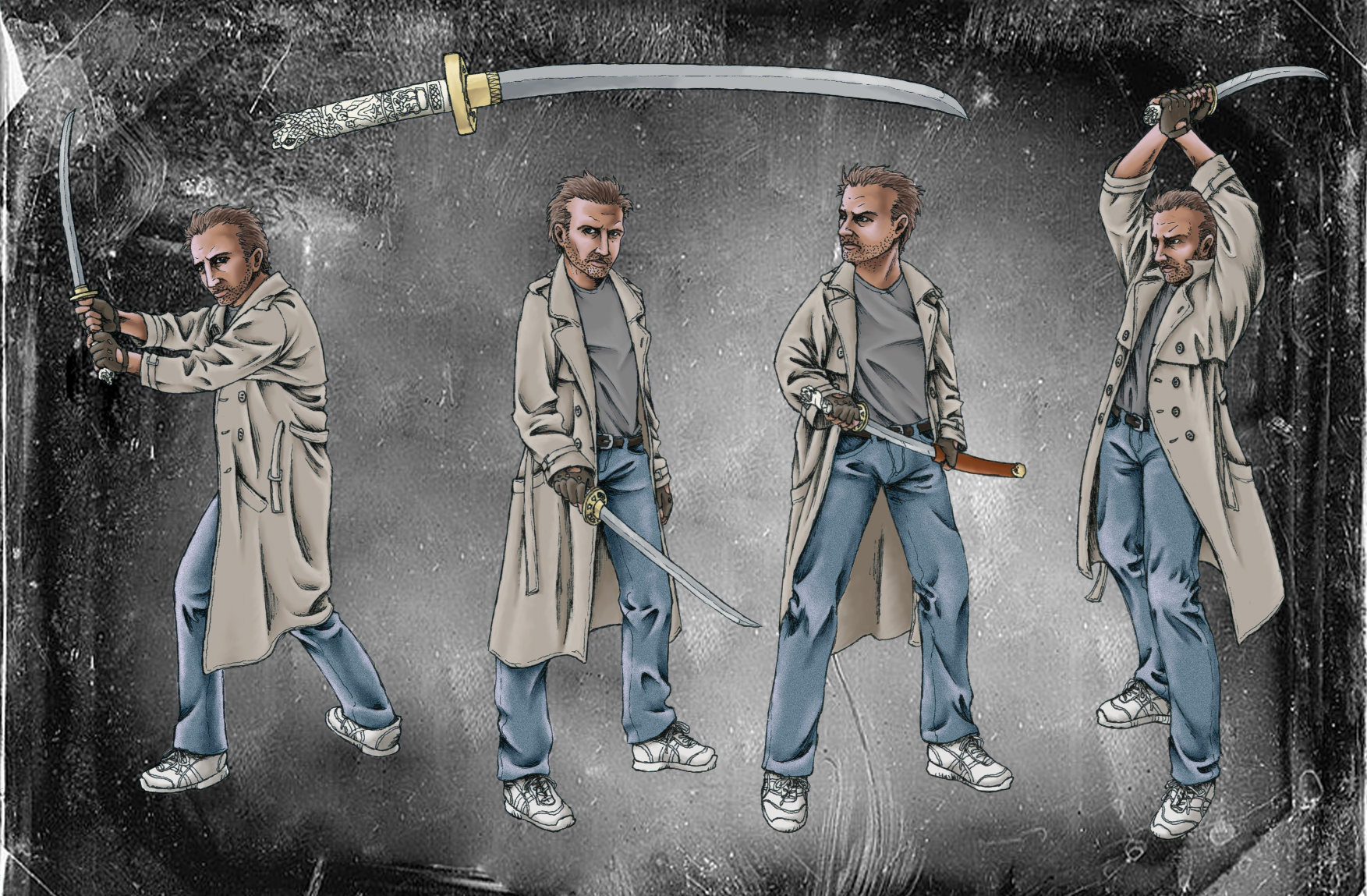Connor MacLeod sword poses