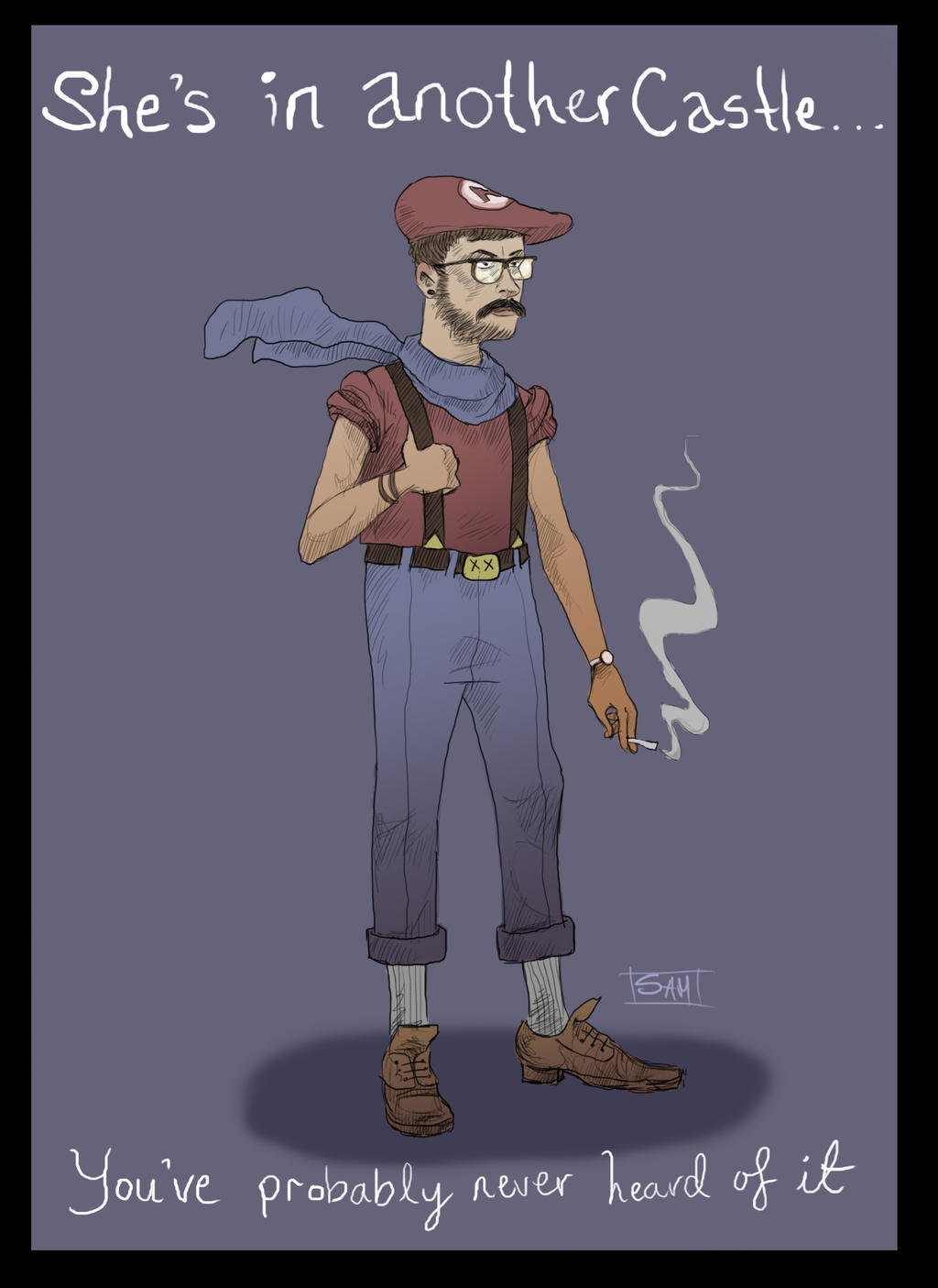 Hipster Mario by AsherBuckley