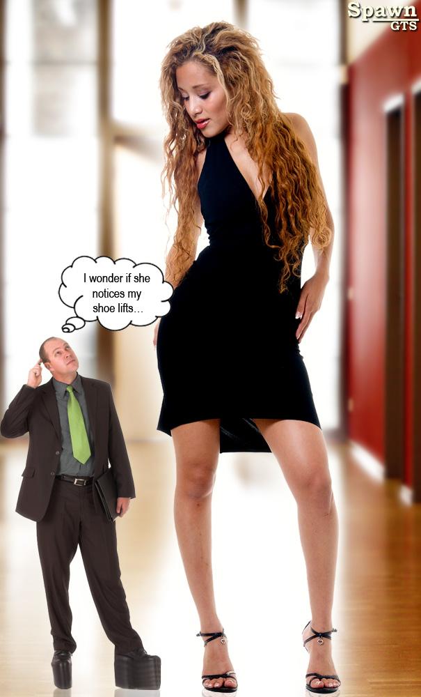 girl and tall man Midget
