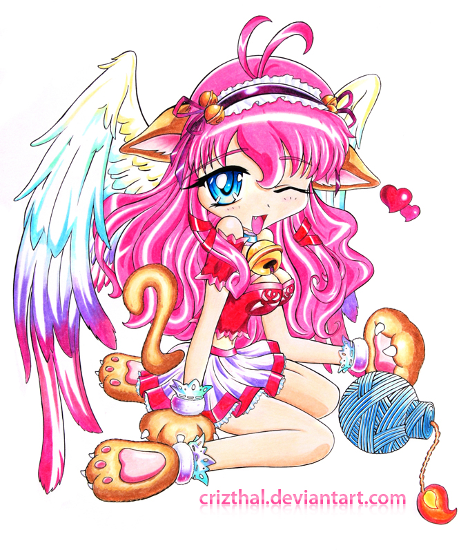Gatita-Pink catgirl by Crizthal