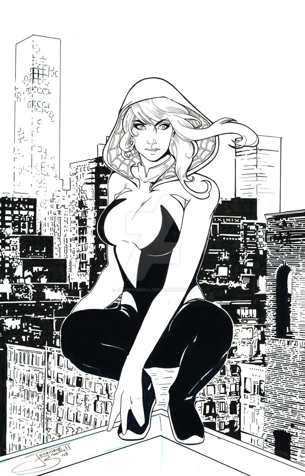 Spider Gwen Inks by JenBroomall