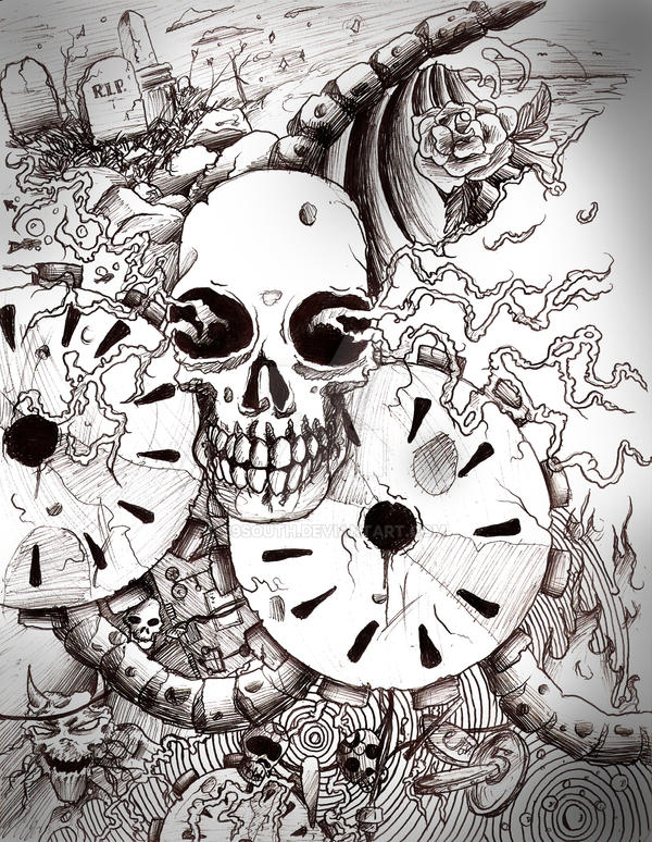 gears and skulls pen on paper