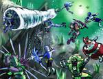 Water Rangers underwater battle by Retahensid