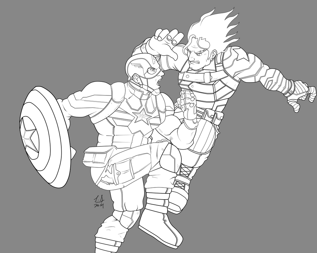 Line Art America : Captain america the winter soldier line art by
