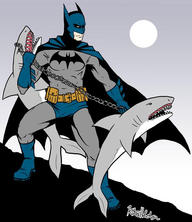 Batman with Shark Nunchucks by darthmongoose