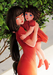 Fanart Hinata and Himawari. by KissSatsuki