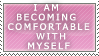 I am becoming comfortable with myself stamp by luluflaire