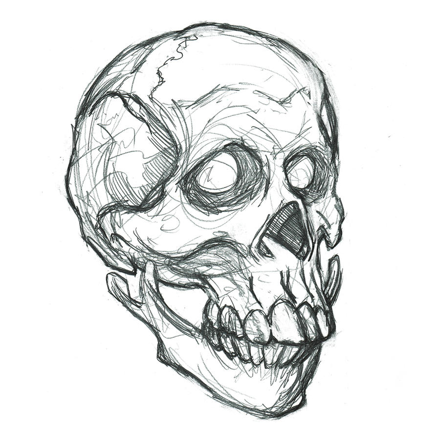Stylized Skull Portrait, Pencil by heidel