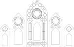 Stained Glass Window Template - Five Panel