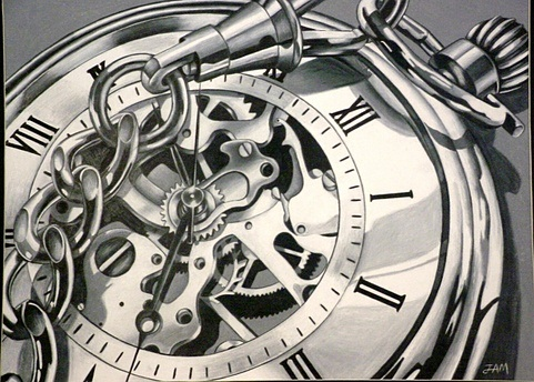 Mechanical watch drawing by prismacolorjessie