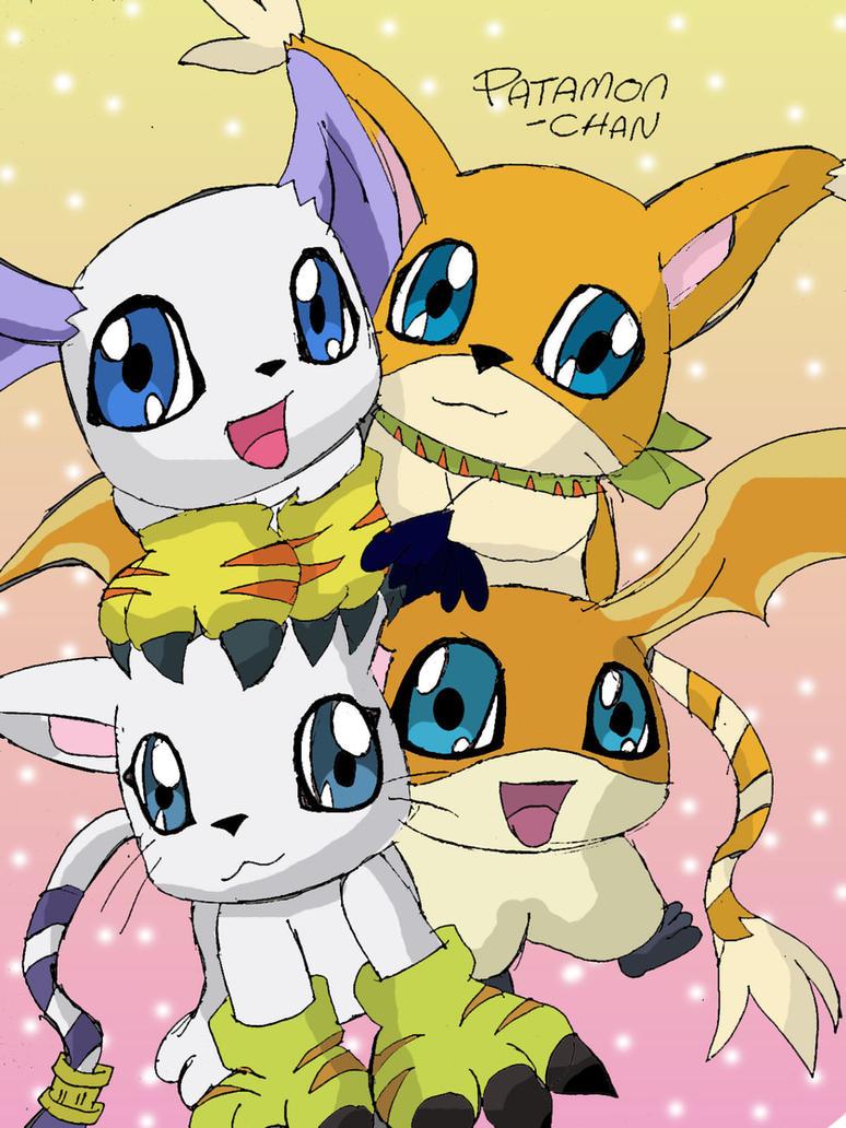 Gatomon And Patamon Family by patamon-chan