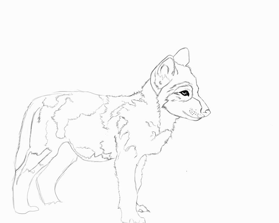 Wolf Lineart : Wolf pup lineart by madre lobo on deviantart