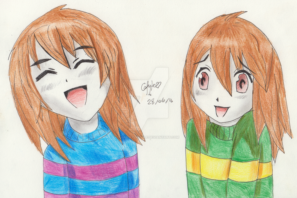 Frisk and Chara from Undertale. by gabseedoodle
