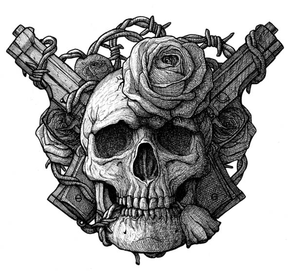 Drawings Easy Skull With Guns: Skull, Guns And Roses By GrimsoulArt On DeviantArt
