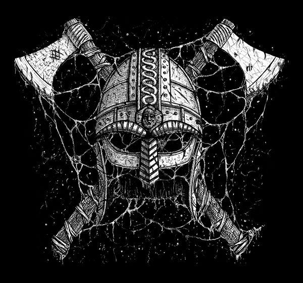 Viking helmet and axes by GrimsoulArt on DeviantArt