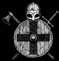 Viking shield with cross by GrimsoulArt