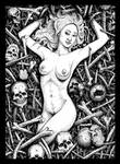 Beautiful woman lying down in the bones and skulls by GrimsoulArt