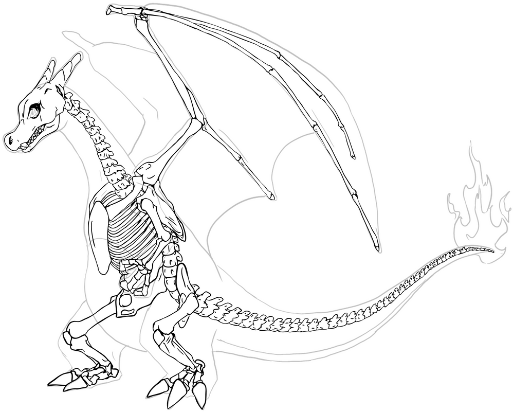 Pokemon Mega Evolution Kleurplaten Charizard Skeleton By Chibi Pika On Deviantart