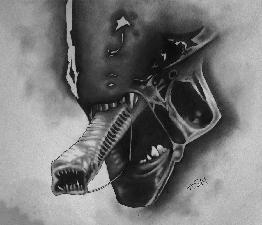 Alien Head Drawing Alien Head by Hausofusher