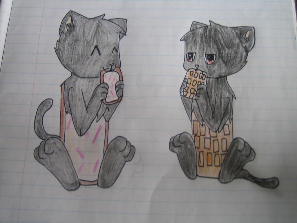 Nyan Cat And Waffle Cat Nyan Cat And Tac Nayn Eating a