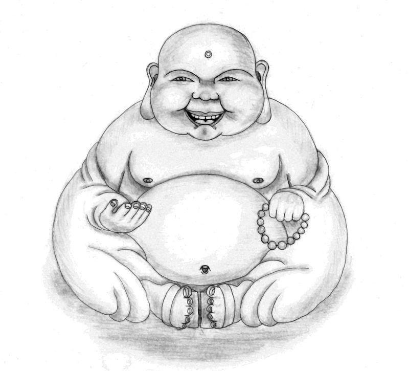 laughing buddha drawing - photo #3