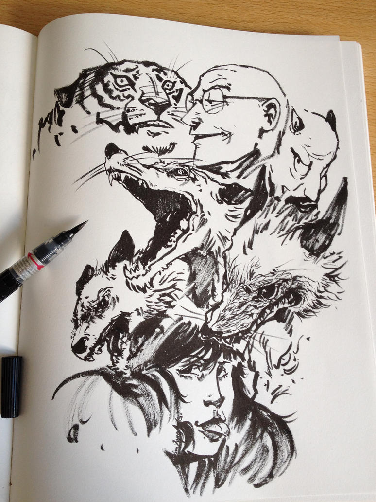 sketching with ink 2 by danielgrell23