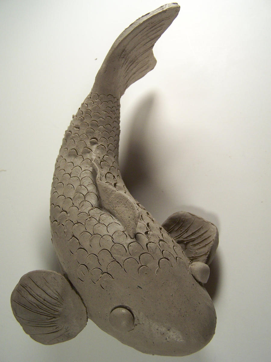 Clay koi fish by kage wolf13 on deviantart for Koi fish statue