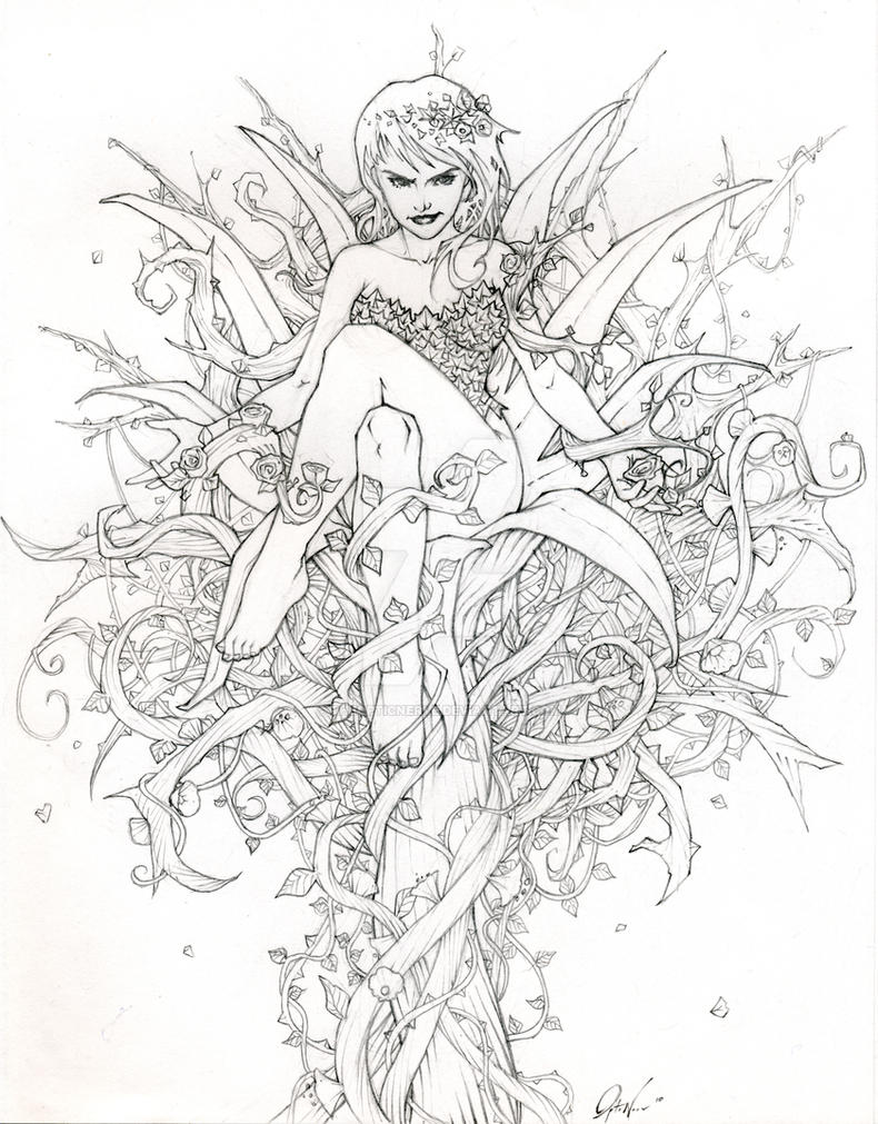 poison ivy coloring page - poison ivy by theopticnerve on deviantart