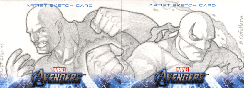 Avengers Assembled Sketchcard - Luke C and Iron F by theopticnerve