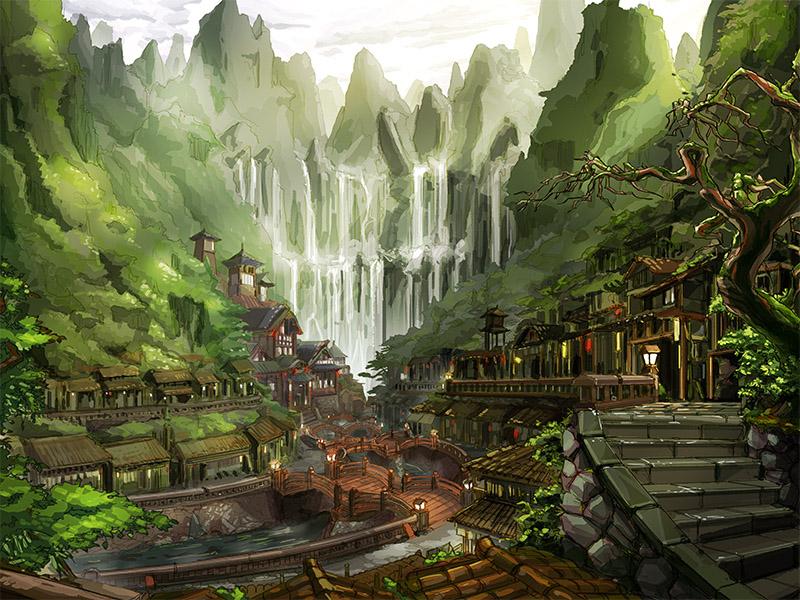 senboumine_town___valley_of_mist_by_sean