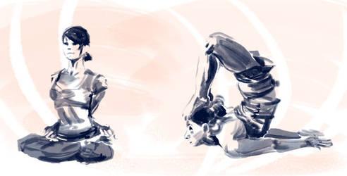 Figure Drawing - Yoga 002 by seandunkley