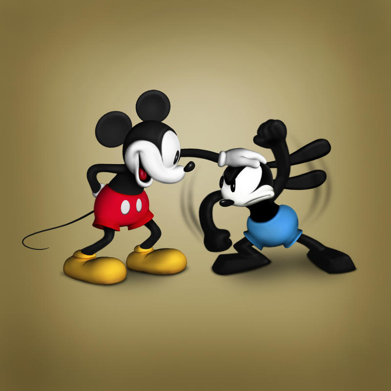 Mickey Teasing Oswald by Hamilton74