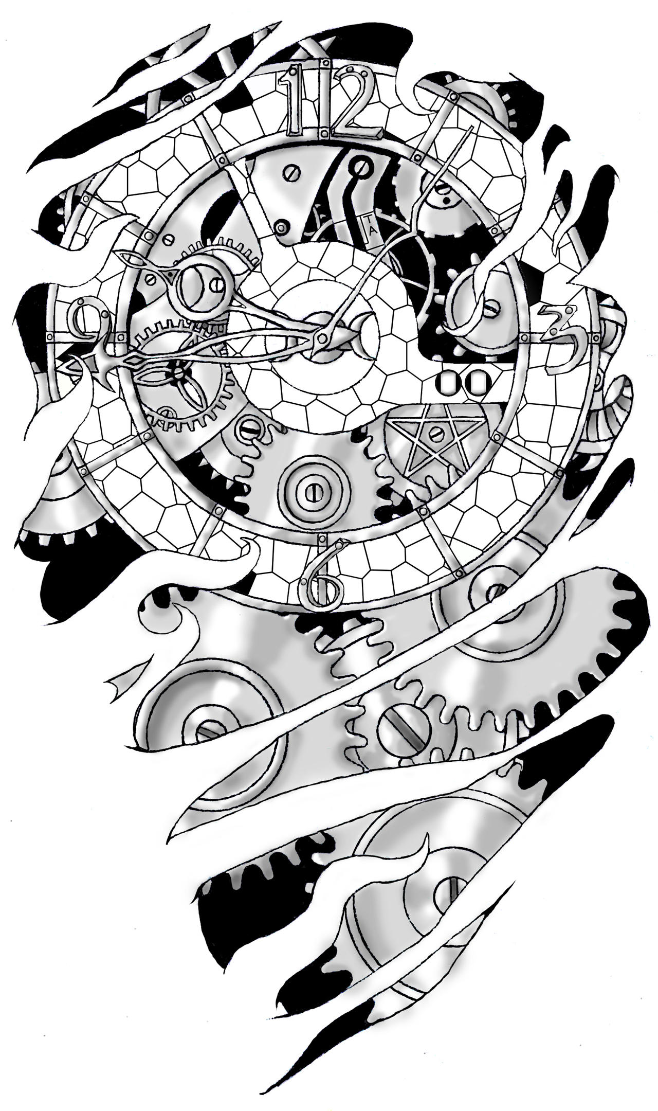 Mechanical Gear Tattoo Drawings Gears and clockwork byGear Tattoo Drawing