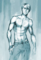 basic topless man painting practice