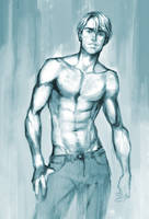 basic topless man painting practice by sukinahito