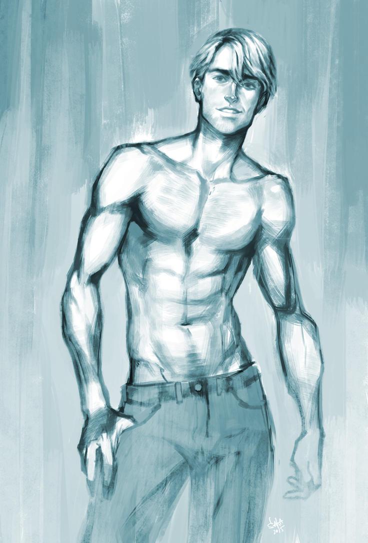 basic topless man painting practice by sukinahito