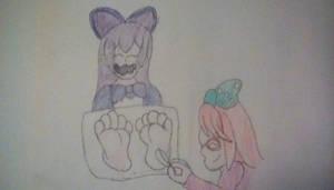 human Luna tickling human Luea