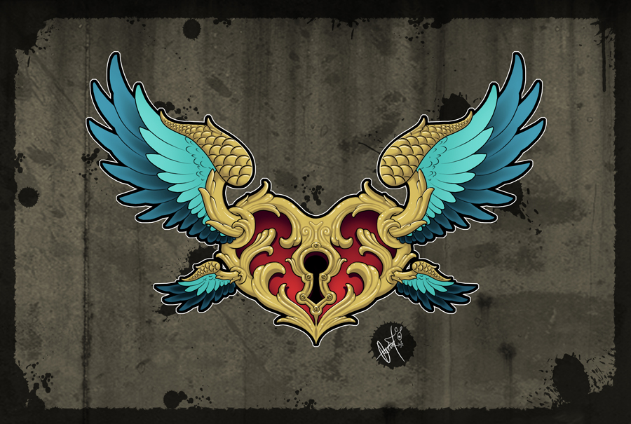 Flying Guardian - Tattoo Design by SugarSkullCandy