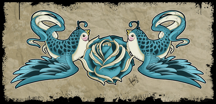 Love Birds - Tattoo Design by SugarSkullCandy
