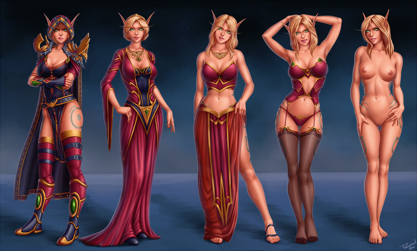 Wow blood elf and draenei nude addons