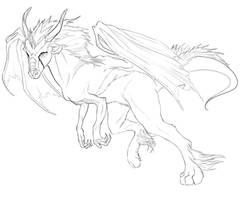 fantasy dragon sketch by Gabeszntx