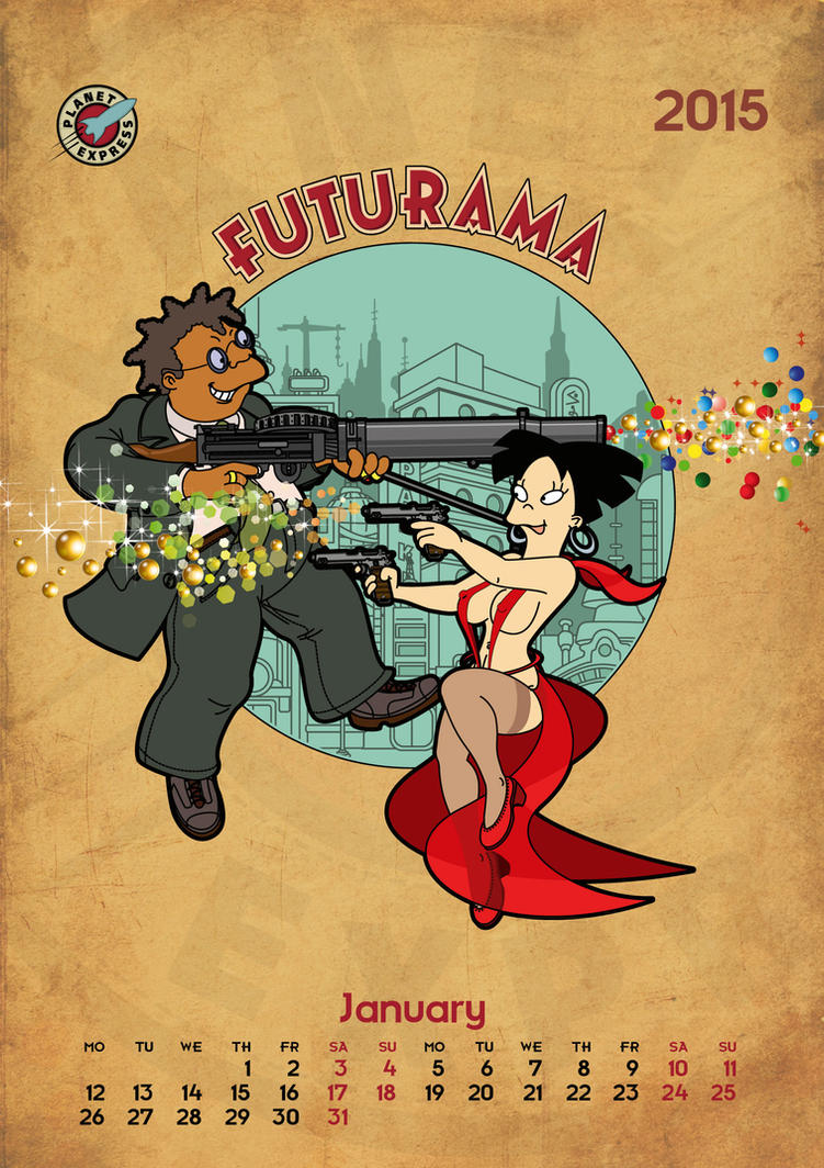 Futurama, calendar 2015, page 1 by bear-bm
