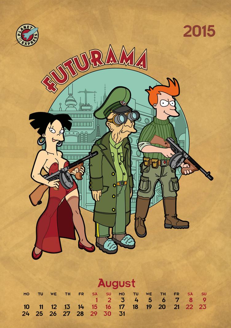 Futurama, calendar 2015, page 8, new background by bear-bm