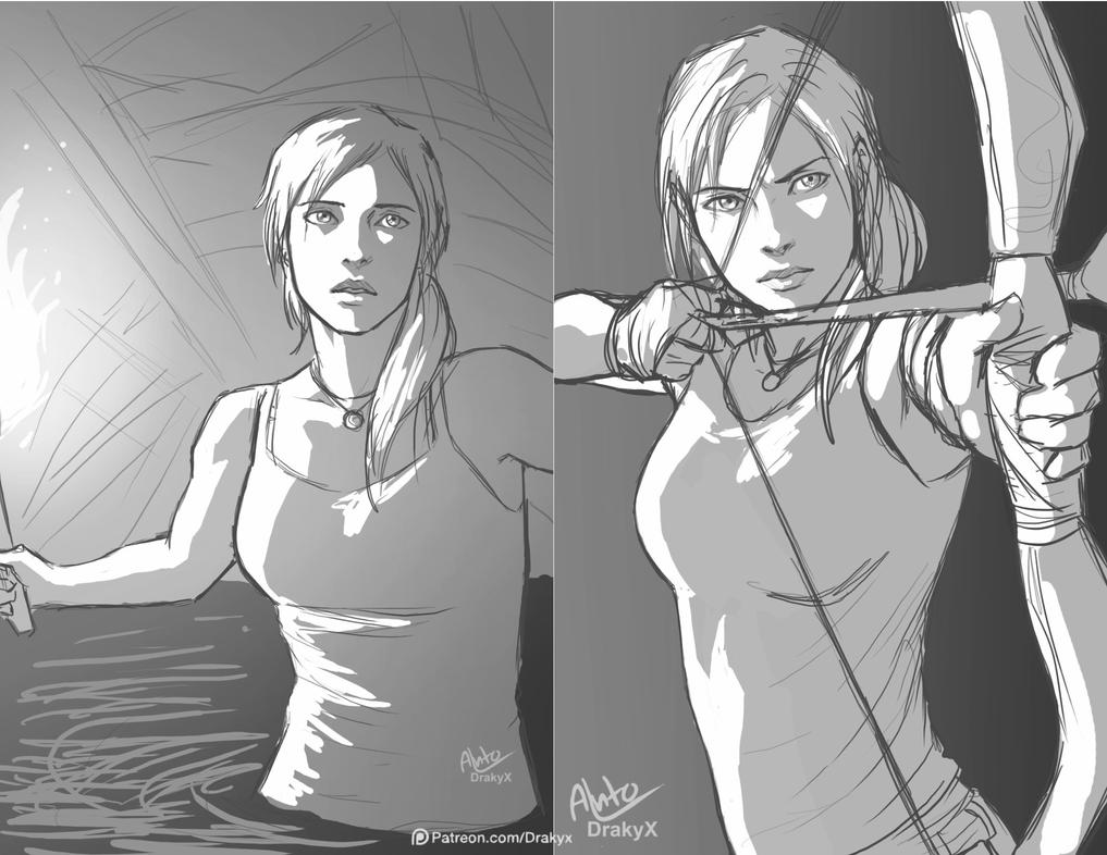 Lara Croft sketch by Drakyx