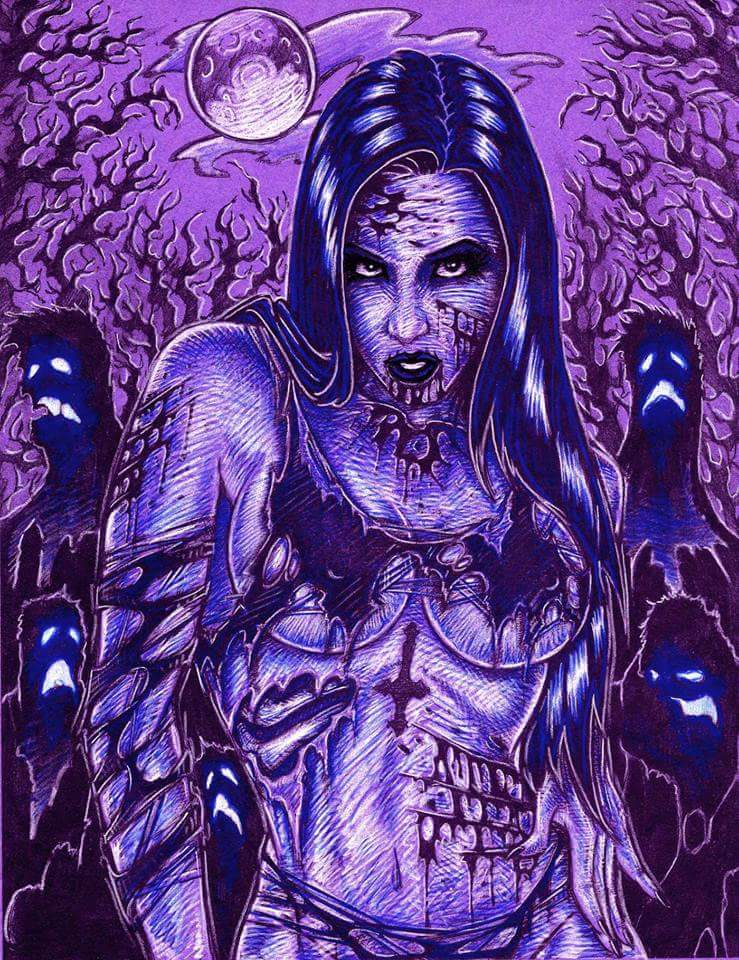 Elena Bathory zombie color by sidewinder72