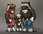 Small musk ox herd colored
