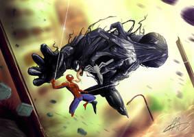 SPIDERMAN vs VENOM by wafspr